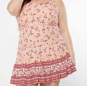 Plus Coral Pink Border Print Tie Shoulder Mini Dre
